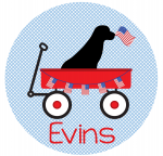 Patriotic Dog in Wagon