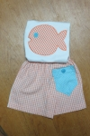 Seersucker Fish Outfit with Pocket