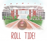 Watercolor Bryant Denny Stadium